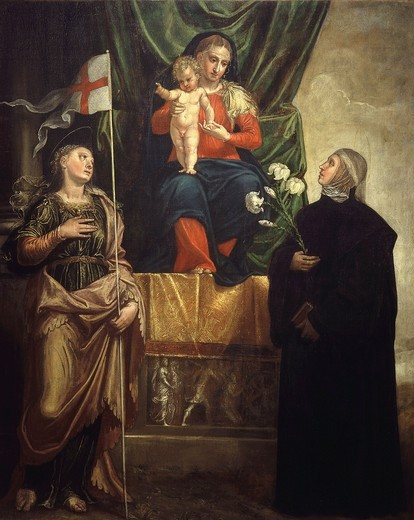 Stock Photo: 4069-5423 Madonna and Child flanked by Saint Ursula, 4th century virgin, and Saint Scholastica, d. 543 sister of St Benedict and first Benedictine nun, from Convent of Saint Catherine