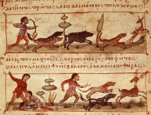 Stag hunt, from the Oppian Manuscript, 11th century Greek : Stock Photo