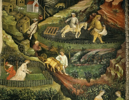 Stock Photo: 4069-5509 April or Aries with ploughing with oxen, women in garden and rabbits in forest fresco from Cycle of Months c.1400 Buonconsiglio Castle (detail)