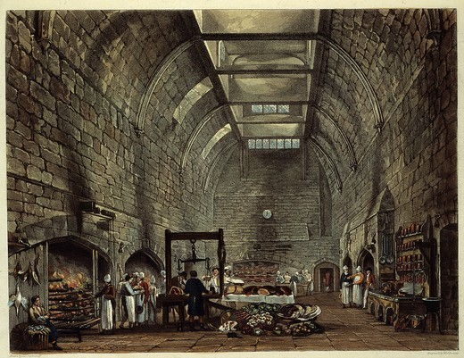Stock Photo: 4069-5518 Ancient kitchen, engraving from Windsor Castle, History of the Royal Residences, 1816, by W H Pyne