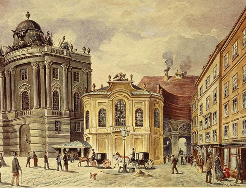 Stock Photo: 4069-5540 Saint Michael's Square, Vienna, Austria, 19th century engraving