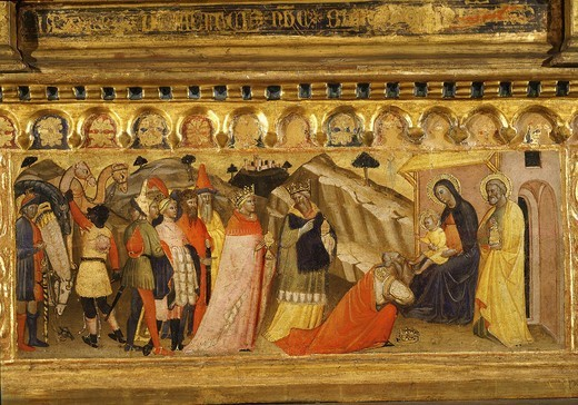 Stock Photo: 4069-5582 Adoration of the Magi, predella to altarpiece