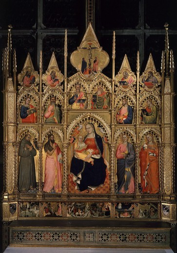 Renuccini Altarpiece, 1379 (Madonna and Child surrounded by Saints Francis, John the Baptist and Mary Magdalene) : Stock Photo