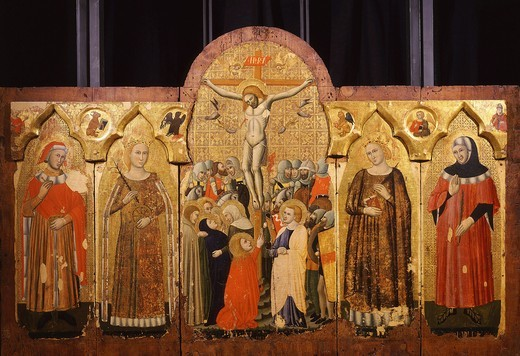 The Crucifixion and saints, polyptych, c. 1350 (by artist from Rimini) : Stock Photo