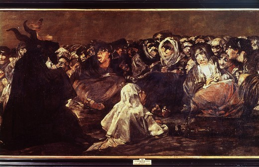 Stock Photo: 4069-5611 Witches' sabbath (Black painting), 1819 - 23, mural painted at Quinta del Sordo (detail)