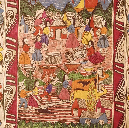 Stock Photo: 4069-5632 Mexican country life, folk art on wooden sheet, 20th century