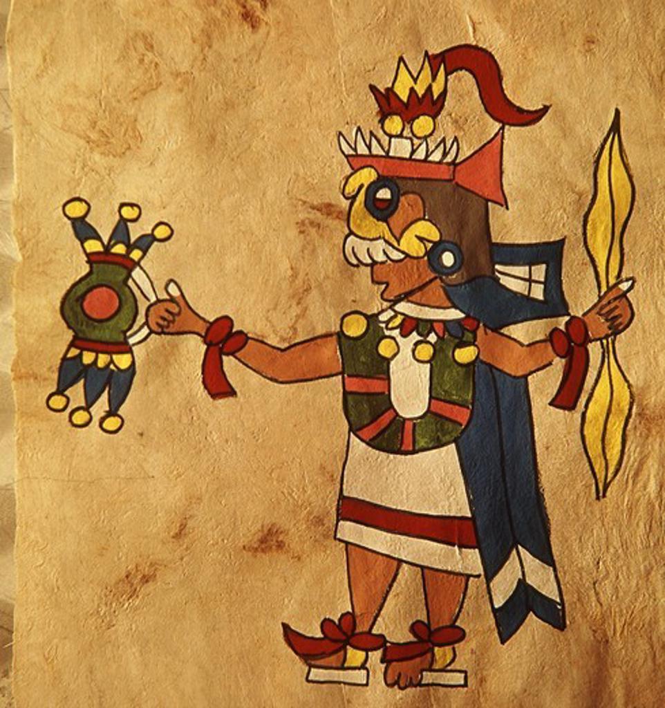 Tlaloc, god of rain, folk art on wooden sheet, Mexican, 20th century : Stock Photo