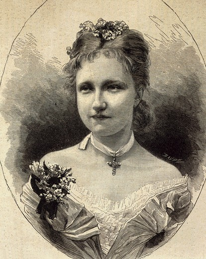 MARIE Alexandrovna, Tsarina of Russia, wife of Alexander II, 1818-81 Tsar of Russia, engraving, 17 March 1855, from French publication L'Illustration : Stock Photo