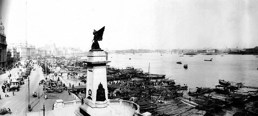 Stock Photo: 4069-5668 Shanghai, China, photograph c.1910 showing the docks with shipping
