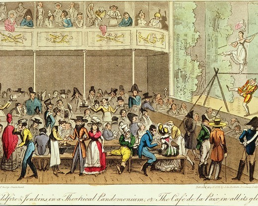 Interior of Cafe de la Paix engraving from Parisian Life, 1822 : Stock Photo