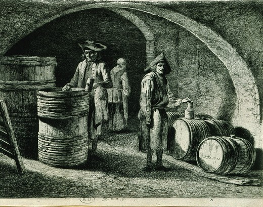 Stock Photo: 4069-5756 Wine cellar, 1770 French engraving by Boissieu