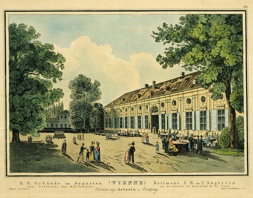Stock Photo: 4069-5790 The Augarten, Vienna, Austria, 19th century engraving