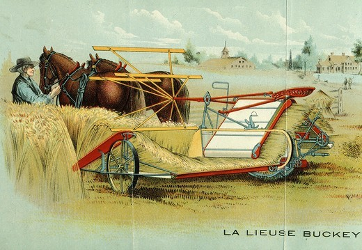 Stock Photo: 4069-5995 Buckey binder used in wheat harvest, 1900, French engraving