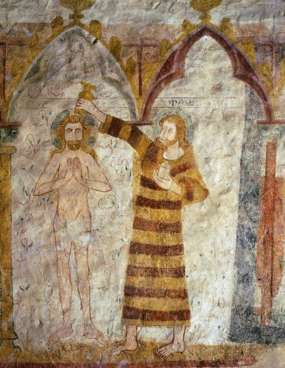 Stock Photo: 4069-6153 Baptism of Christ by Saint John the Baptist, Gothic mural painting, 15th century, church of St Hilaire, Asniires-sur-VZgre