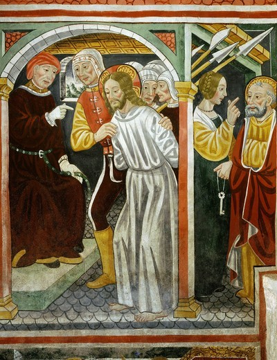 Christ in front of the HIgh Priest, Saint Peter and the servant girl, 15th century fresco, 'the poor man's Bible ', Church of the Trinity, Piedmont : Stock Photo
