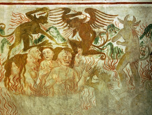 Stock Photo: 4069-6161 The Last Judgement, hell, 15th century fresco, 'the poor man's Bible ', Church of the Trinity, Piedmont