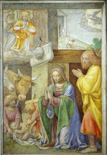 Stock Photo: 4069-6164 Nativity, fresco, c.1520-5, painted for a Greco-Milanese oratory near Milan