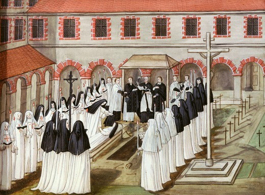 Stock Photo: 4069-6173 Burial of a nun at the Benedictine Abbey of Port-Royal des Champs (destroyed 1710), gouache