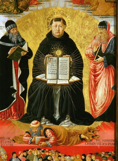 Saint Thomas Aquinas standing between Aristotle and Plato and over the Arab philiosopher Averroes, from the Triumph of Saint Thomas Aquinas, tempera, detail (inv 104) : Stock Photo