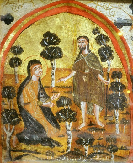 Stock Photo: 4069-6207 Noli me tangere, Christ and Mary Magdalene, Coptic icon, byzantine influence, 14th century