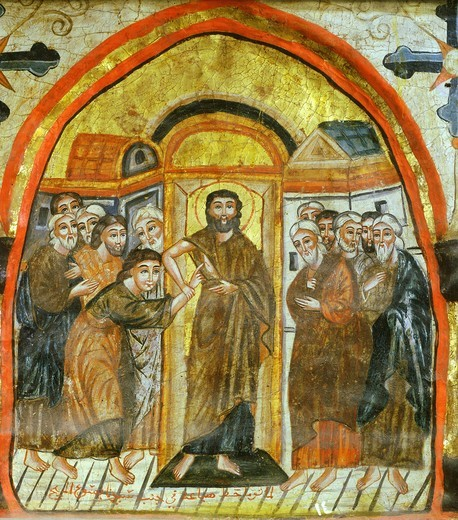 Stock Photo: 4069-6208 Doubting Thomas, Coptic icon, byzantine influence, 14th century