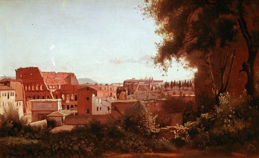 Stock Photo: 4069-6236 The Colosseum seen from the Farnese Gardens, Rome, 1826