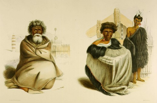 Stock Photo: 4069-629 Te Ohu heathen priest and Ko Tauwaki chief of Tukanu from Maori tribes with Wahi tapu for deceased priest, from New Zealanders Illustrated, 1847