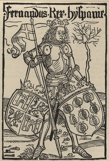 FERDINAND of Spain, 1452-1516, King of Castile and Aragon, frontispiece to Christopher Columbus' De insulis nuper inventis epistola, woodcut, Basel, 1494 : Stock Photo