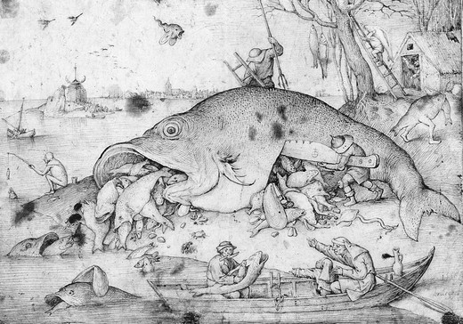 The big fish eating the smaller fish, pen and grey-black ink, 1556 : Stock Photo