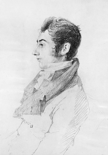 Stock Photo: 4069-6316 Sir William Jackman HOOKER, 1785-1865, botanist and first director of Kew Gardens, pencil 1812, engraved by Mrs Dawson Turner, 1813