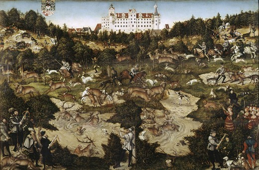 Hunting Party in Honour of CHARLES V at Torgau Castle, 1544, Charles V, 1500-58, was Holy Roman Emperor from 1519-56, Carlos I of Spain, 1516-56 and Archduke of Austria, 1519-21, is shown in black, lower left, hunting a stag : Stock Photo