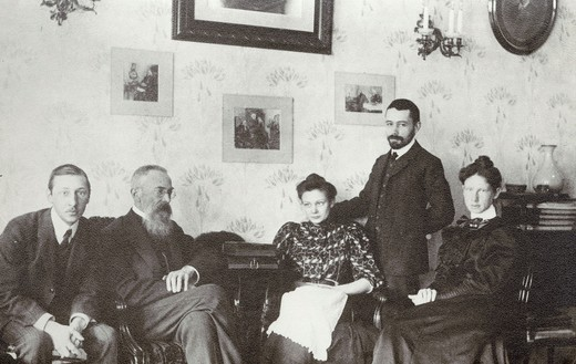 Stock Photo: 4069-6385 Nicolai RIMSKY-KORSAKOV, 1844-1908, Russian composer, at home with his pupil Igor STRAVINSKY 1882-1971 (far left) and other family, undated photograph