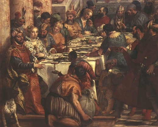 Stock Photo: 4069-6388 The Wedding at Cana, painted 1562-63 (portraits include Francis I of France, Mary of England, Charles V, and, as musicians, Titian, himself, his brother Benedetto, Tintoretto, Jacopo Bassano and Palladio) (detail, left) (photographed before restoration)