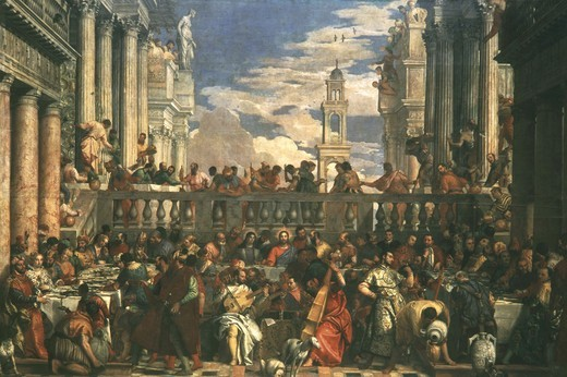 The Wedding at Cana, painted 1562-63 (portraits include Francis I of France, Mary of England, Charles V, and, as musicians, Titian, himself, his brother Benedetto, Tintoretto, Jacopo Bassano and Palladio) (photographed before restoration) : Stock Photo