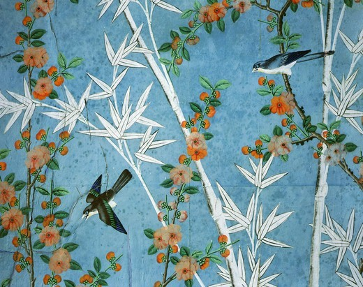 Stock Photo: 4069-640 Painted wallpaper with chinoiserie design of bamboo and birds 1760 at Chateau de Maintenon France