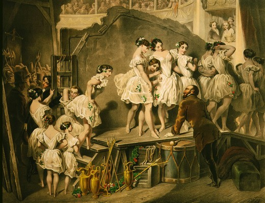 Stock Photo: 4069-641 Corps de ballet of Vienna Opera, watercolour, 1820