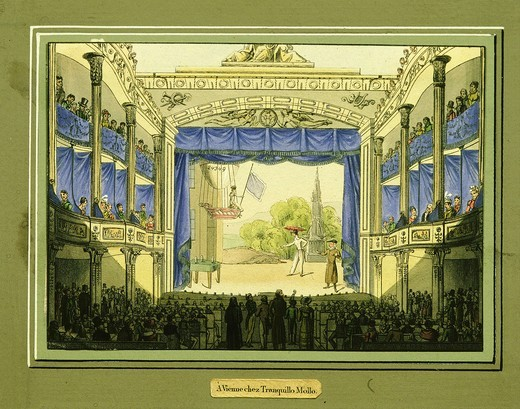 Interior of Wiener Theatre, Vienna, watercolour by Tranquillo Mollo : Stock Photo