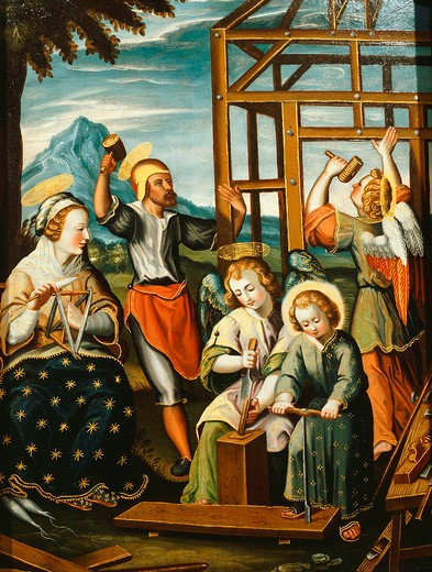 Stock Photo: 4069-6486 Scene from the Childhood of Jesus, woodworking with his father, painted wood panel, Dalmatian school, early 17th century