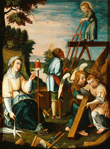 Scene from the Childhood of Jesus, scene in the joinery workship, Mary spins wool, painted wood panel, Dalmatian school, early 17th century : Stock Photo