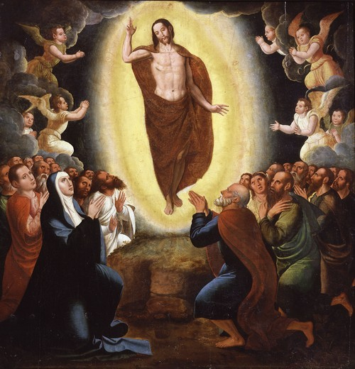 Stock Photo: 4069-6492 The Ascension, scenes from the Life of Christ, Flemish or Spanish school, 17th century, Gallery of the Golden Age