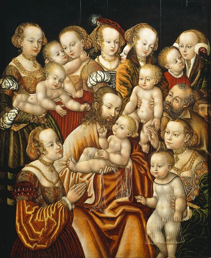 Christ Blessing the Children, 16th century, by Master HB of the Griffon's Head : Stock Photo