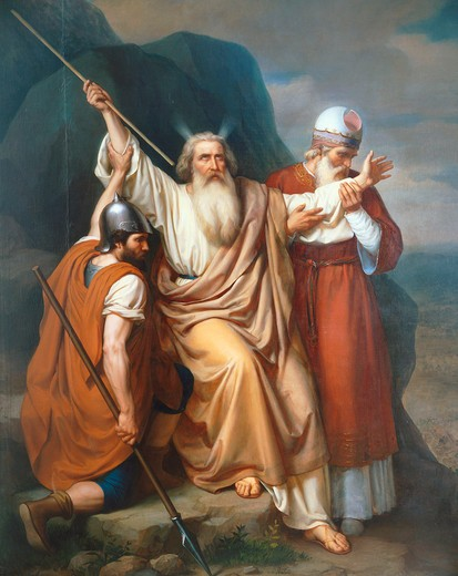 Moses in Raphidim where a spring emerged, 1856 : Stock Photo