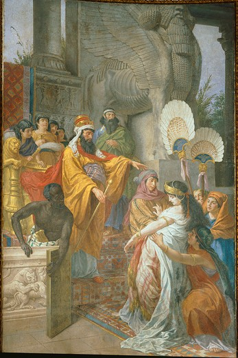Stock Photo: 4069-6567 Esther and Ahasuerus, fresco, 1876
