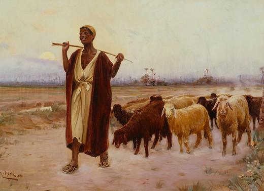 Shepherd and his Flock, 1896 : Stock Photo
