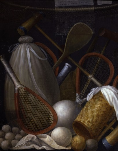 Stock Photo: 4069-6593 Allegory of Games, including real tennis and boules, painted panel from Cabinet des Grelots, Bells Cabinet, 1554