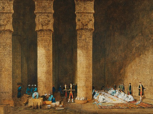 Stock Photo: 4069-6605 Meal in an Egyptian Temple, Her Majesty Empress EUGENIE, 1826-1920, in Egypt for the inauguration of the Suez Canal, watercolour and gouache, 1869