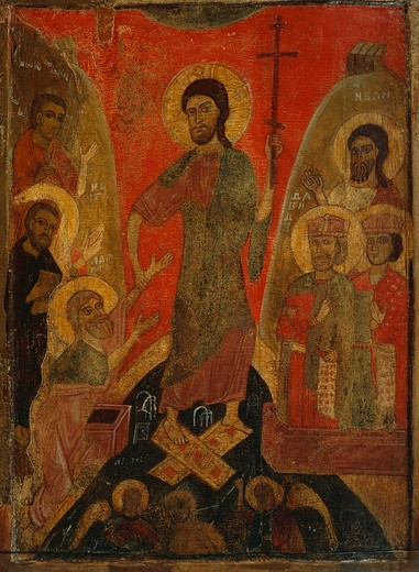 Stock Photo: 4069-6626 Anastasis, mid-13th century, from Banca Intesa Collection of Russian Icons