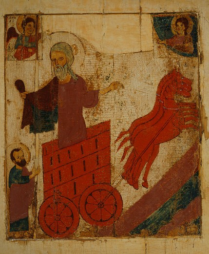 Stock Photo: 4069-6627 The Prophet Elijah in his Chariot, late 13th century, from Banca Intesa Collection of Russian Icons