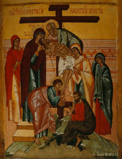 The Deposition, c.1480-90, from Banca Intesa Collection of Russian Icons : Stock Photo