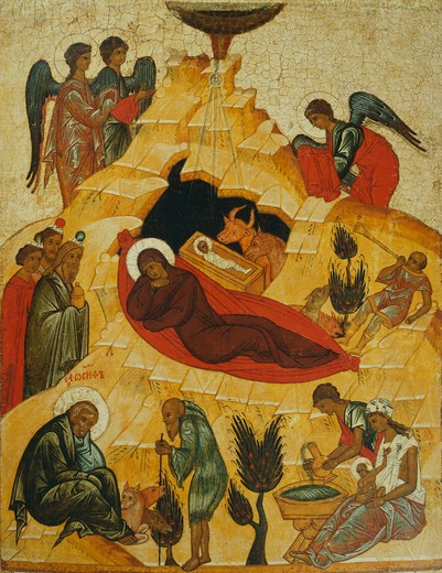 The Nativity, c.1475, from the church of Saint Nicholas, Gostinople, Banca Intesa Collection of Russian Icons : Stock Photo